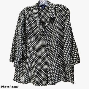 Silkland 100% Silk green print blouse size…